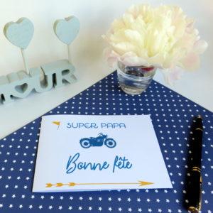 """Carte """"bonne fête"""" moto bleue"""