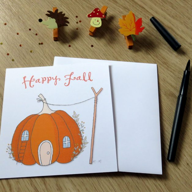 Carte happy Fall citrouille maison
