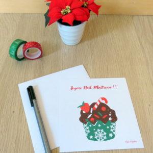 Carte Joyeux Noël maîtresse