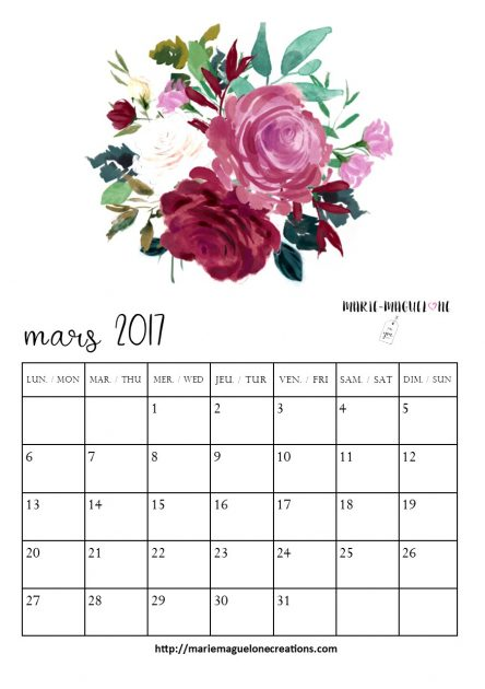 Calendrier A5 Bujo Marie-Maguelone