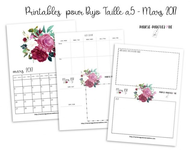 Printables BUJO offerts mars 17 par Marie-Maguelone
