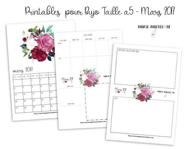 Printables BUJO offerts mars 17 par Marie-Maguelone