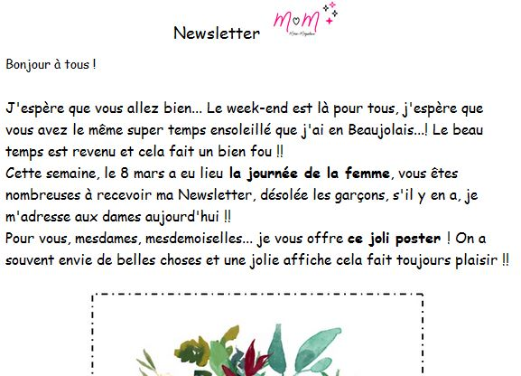 Exemple de Newsletter Marie-maguelone