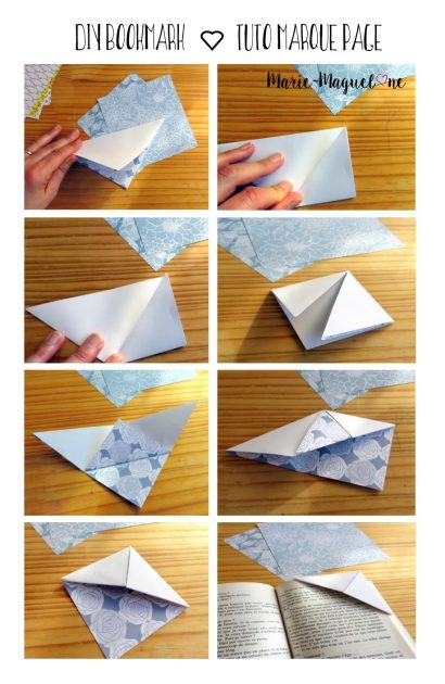 diy bookmark tuto marque pages en papier origami et d coupage. Black Bedroom Furniture Sets. Home Design Ideas