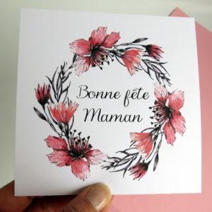 Couronne de fleurs : carte Bonne fête maman