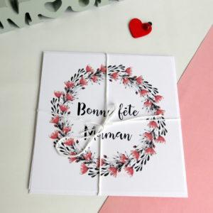 Carte Couronne petites fleurs Bonne Fête Maman