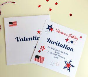 Enveloppe et carte Usa Party