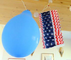 Ballon bleu et lampion USA party