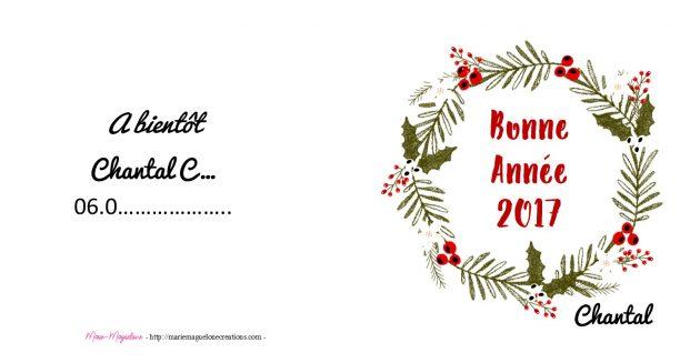 Carte de remerciement-voeux pour Chantal par Marie-Maguelone