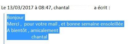 Message de Chantal