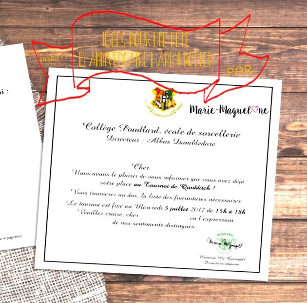 id es et carte d 39 invitation pour un anniversaire harry potter. Black Bedroom Furniture Sets. Home Design Ideas